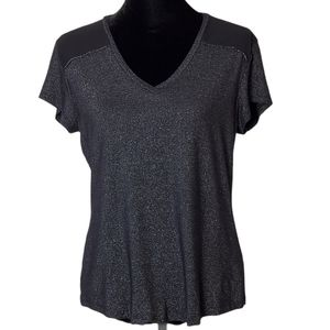 Calvin Klein Black V-neck Short Sleeve Top Size L
